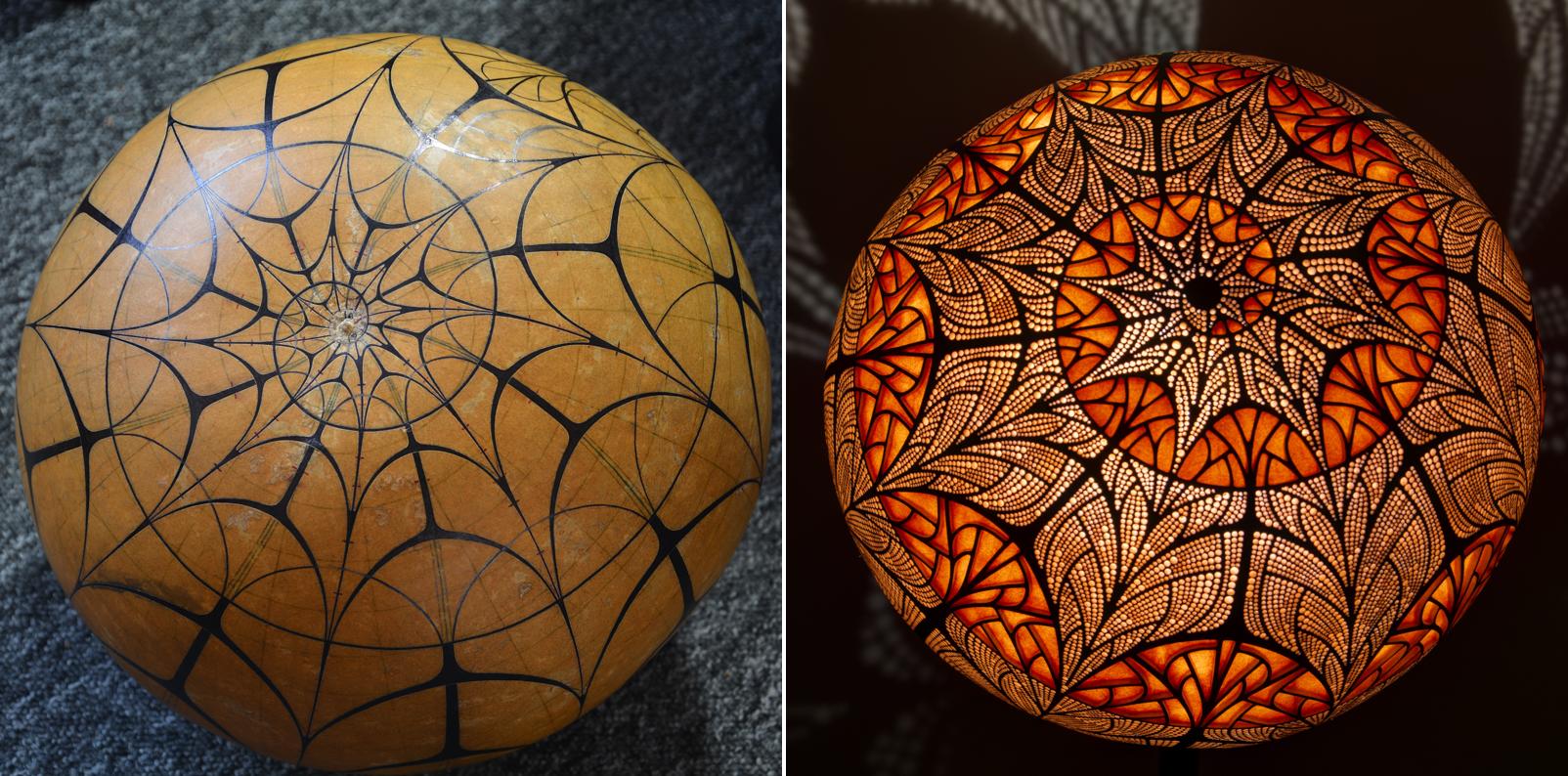 Rzeźba światła, czyli rękodzielnicze lampy z tykwy | Projekt